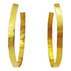 Hand Forged 18 Karat Yellow Gold Hammered Hoop Earrings