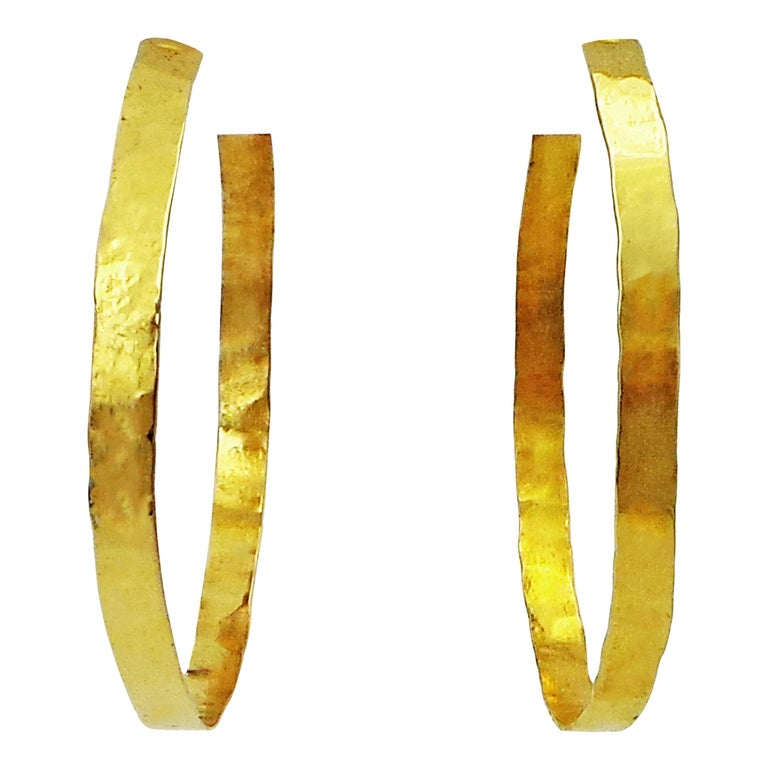 Hand Forged 18 Karat Yellow Gold Hammered Hoop Earrings For Sale