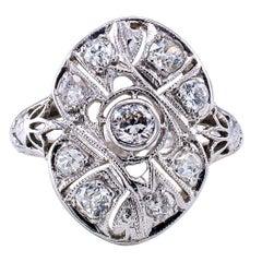Art Deco Diamond Gold Platinum Dinner Ring
