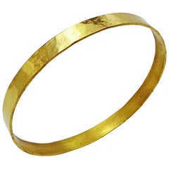 Hand Forged 18 Karat Yellow Gold Wide Hammered Bangle