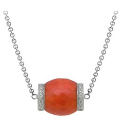 Antique Faceted Coral Bead and Diamond Pendant Set in 18 Karat White Gold