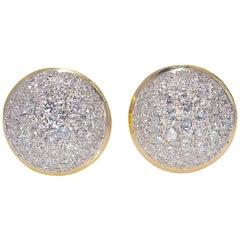 3 Carat Natural Diamond Lever-Back Cluster Earrings Gold 14 Karat 14.5 Grams