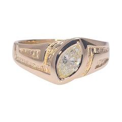 Men's .75 Carat Natural Marquise Cut Diamond Ring Gold 14 Karat 8.10 Grams