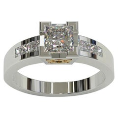 Kian Design Total 1.41 Carat Princess Cut Diamond Two-Tone Gold Ring