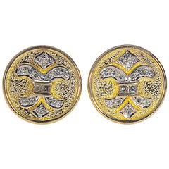 Fleur-de-lis .50 Carat Diamond Cufflinks 18 Karat Yellow Gold 12.10 Grams