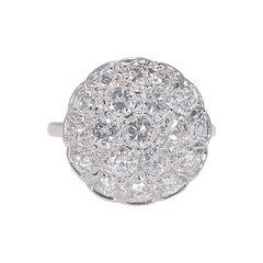 Vintage 1950s 2 Carat Diamond Cluster Ring White Gold 14 Karat 4.50 Grams