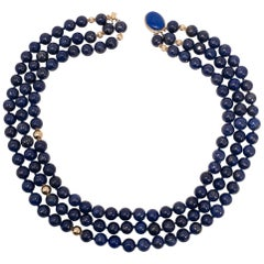 Lapiz Lazuli Triple Strand Knotted String Bead Necklace 14K Gold Clasp, Accents