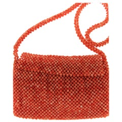 Natural Coral Bead Woven Purse Bag