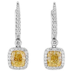 GIA 3.37 Carat Fancy Light Yellow Diamond 18 Karat White Gold Drop Earrings