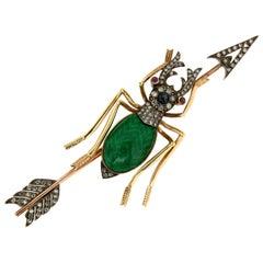 Beetle, Gold 14 Karat, Enamel, Diamonds Brooch