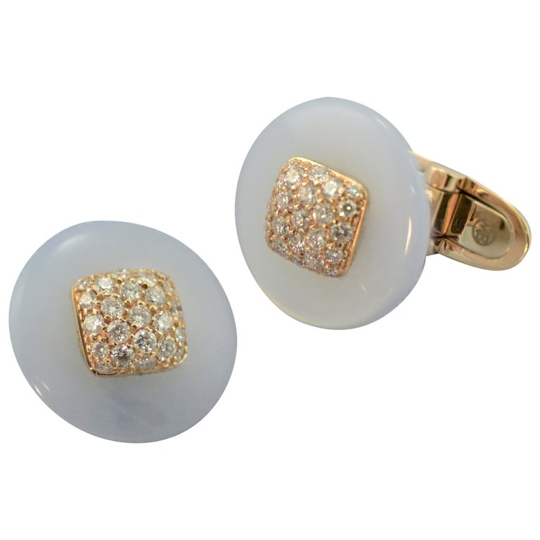 Margherita Burgener Handcrafted Rose Gold Chalcedony Diamond Cufflinks  For Sale