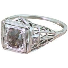 Midcentury 0.75 Carat Fancy Dark Pinkish Brown Old Cut Diamond Ring, circa 1960
