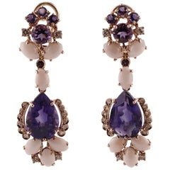 Diamonds, Amethysts, Pink Secundum Coral Rose Gold Earrings