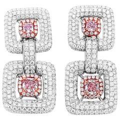 GIA Certified 5.52 Carat Very Light Pink Radiant Diamond White Gold Earrings