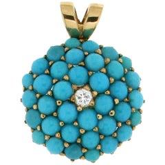 Turquoise 18 Karat Yellow Gold Diamonds Pendant Necklace