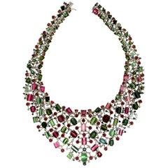 Tourmaline 18 Karat White Gold Diamonds Sapphires Ruby Choker Necklace
