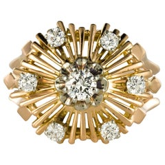 1960s Retro Diamond 18 Karat Rose Gold Radiant Ring