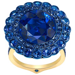 Ana de Costa Blue Sapphire Yellow Gold Round Cluster Engagement Ring