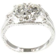 Stunning Art Deco 1.10 Carat Diamond Platinum Vintage Engagement Ring