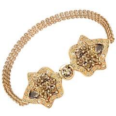 Ana de Costa Rose Gold Pear Round Cognac Diamond Cuff Chain Bracelet