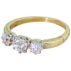 Art Deco 0.86 Carat Old Cut Diamond Trilogy Ring
