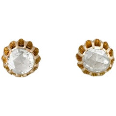 1900s Antique French Diamond and Yellow Gold Stud Earrings