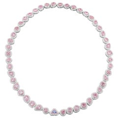 GIA Certified 18.84 Carat Royal Blue and Fancy Pink Diamond White Gold Necklace