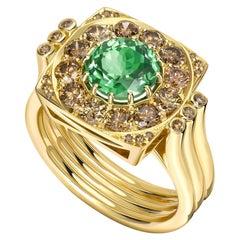 Ana de Costa Green Round Tsavorite Cognac Diamond Yellow Gold Cocktail Ring