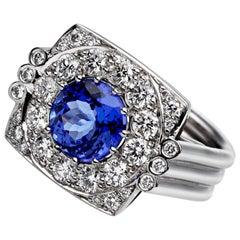 Ana de Costa Round Blue Tanzanite White Diamond White Gold Cluster Cocktail Ring