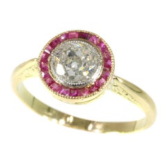 Authentic Art Deco Vintage Diamond and Ruby Engagement Ring