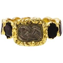Georgian Flat Cut Garnet Eternity 15 Carat Gold Mourning Ring