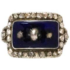 Georgian Diamond and Enamel Gold Ring