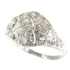Stunning Vintage Platinum 1.74 Carat Diamond Engagement Ring Slightly Domed