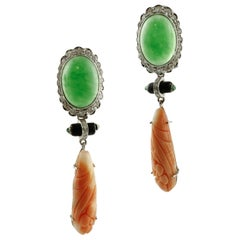 Diamonds, Emeralds, Onyx, Green Agate, Orange Engraved Coral , Gold Earrings