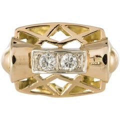 1940s 0.20 Carat Diamond Yellow Gold Retro Ring