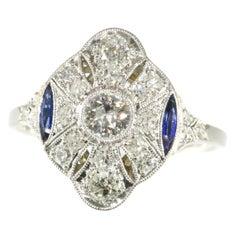 Belle Époque Art Deco Diamond and Sapphire Platinum Engagement Ring