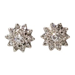 Vintage Diamond 18 Carat White Gold Cluster Stud Earrings