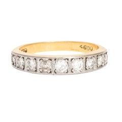 Art Deco Square-Set Diamond Half Eternity Ring