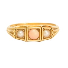 Antique Victorian Angelskin Coral Pearl Three-Stone Ring