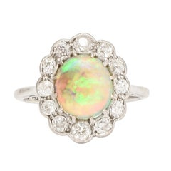Antique Edwardian Opal Old Cut Diamond Cluster Ring