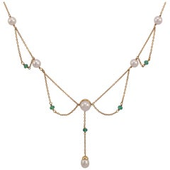 Emerald Pearl Dress Pendant Necklace Drop 9 Karat Gold