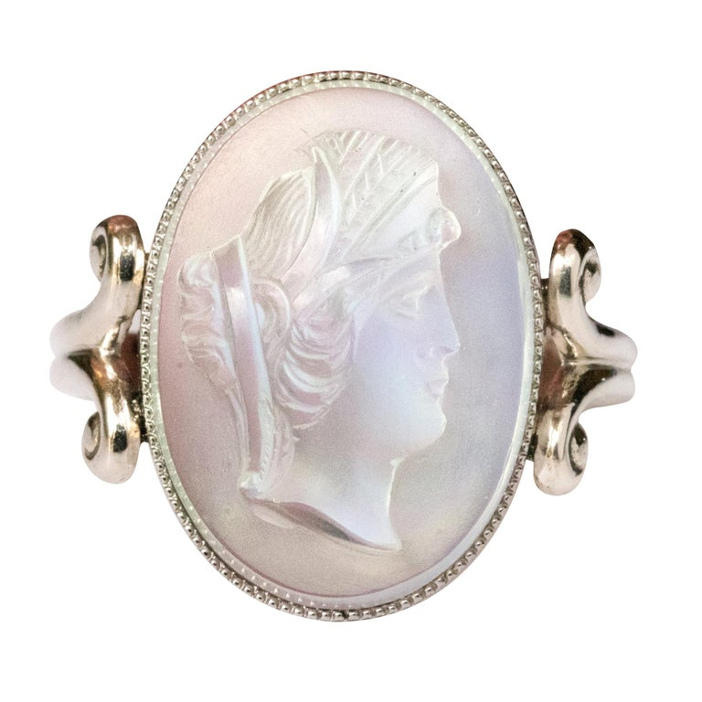 20th Antique Moonstone Cameo White Gold Ring For Sale