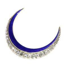 Victorian Brooch Crescent Moon with Blue Enamel and Rose Cut Diamonds