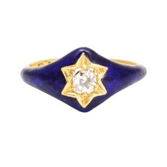 Antique Victorian Blue Enamel Diamond Star Ring