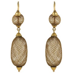19th Century Hair Yellow Gold Pendant Earrings