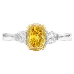 GIA Natural Fancy Deep Orangy Yellow Oval Diamond Cocktail Engagement Ring