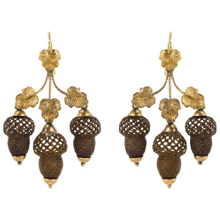 19th Century Yellow Gold Hair Leaves Glans Drop Earrings For Sale