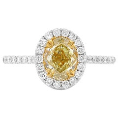 GIA Natural Fancy Yellow Oval Diamond White Gold Cocktail Dress Engagement Ring