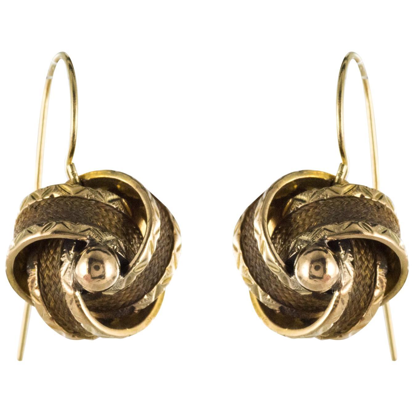 19th Century Golden Bows Hair Drop Earrings