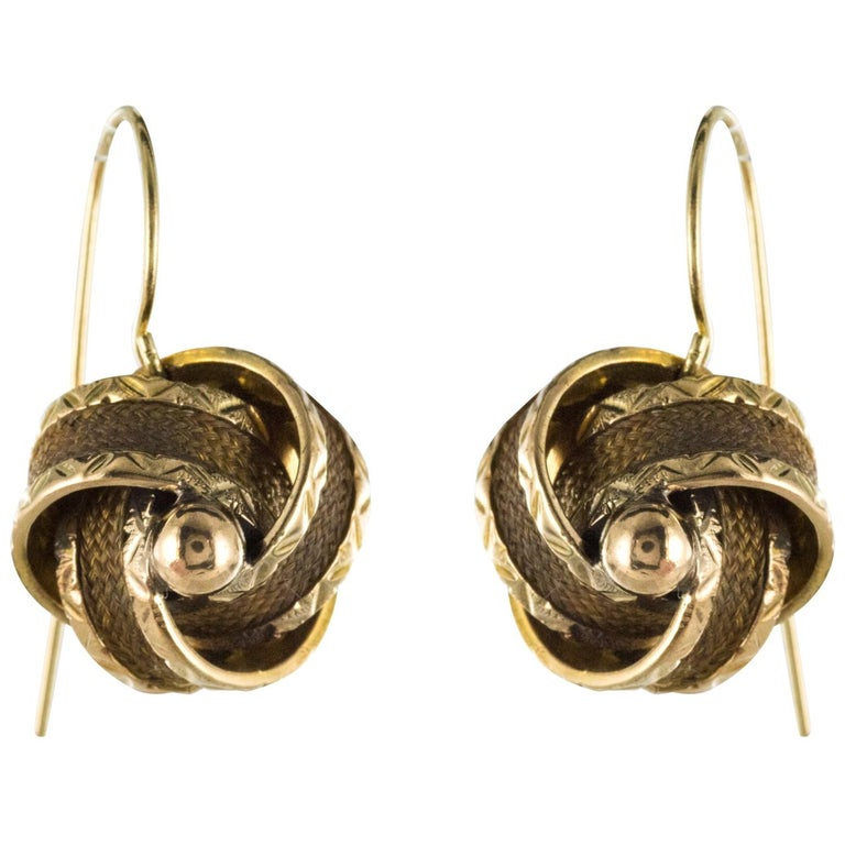 19th Century Golden Bows Hair Drop Earrings For Sale